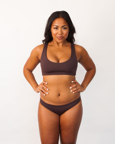 brown sports bra swim top