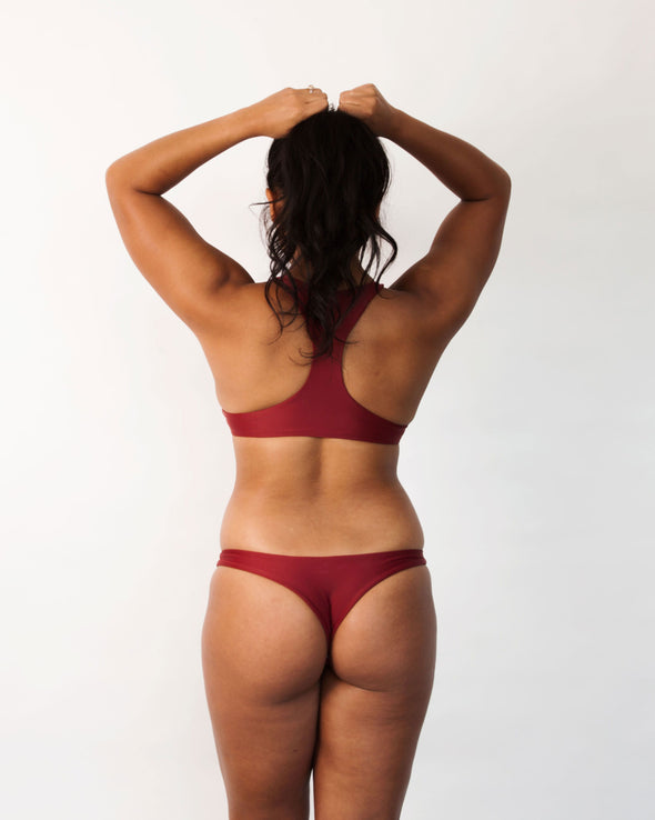 Red cheeky bikini bottom