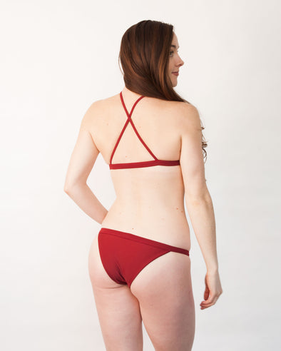 Dark red banded cheeky bikini