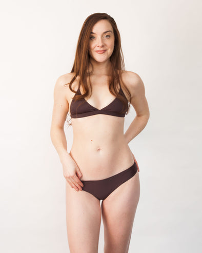 Brown triangle banded bikini top