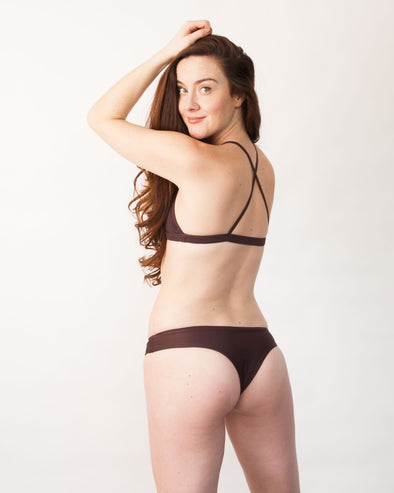 Chocolate brown cheeky bikini bottom