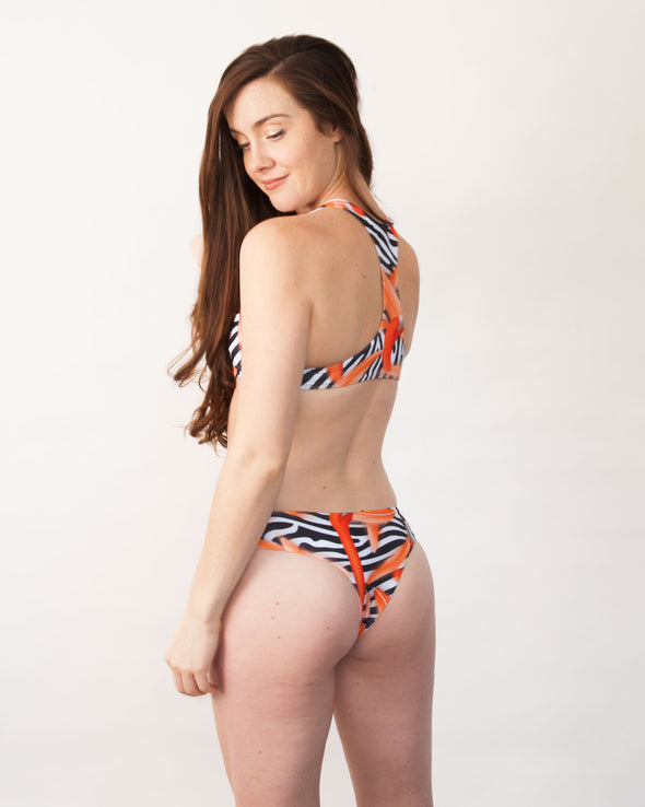 zebra flamingo cheeky seamless surf bikini