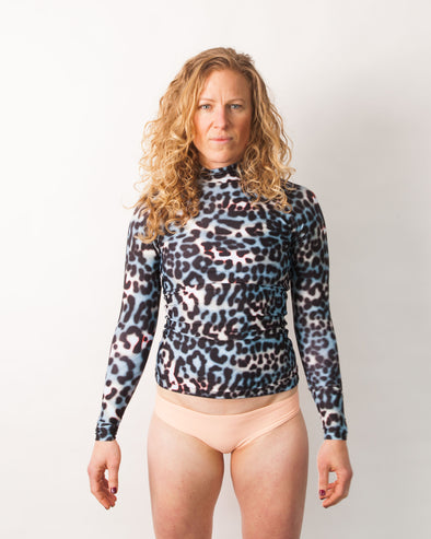 Leopard long sleeve rashguard swim shirt