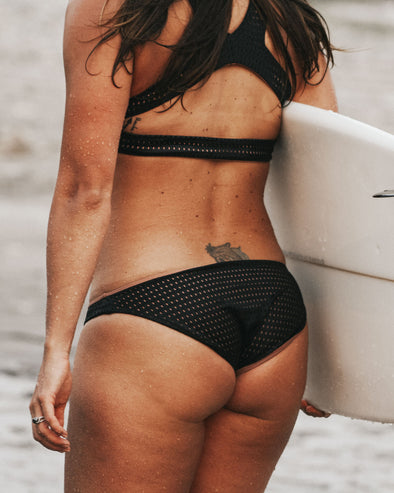 black mesh full coverage bikini bottom