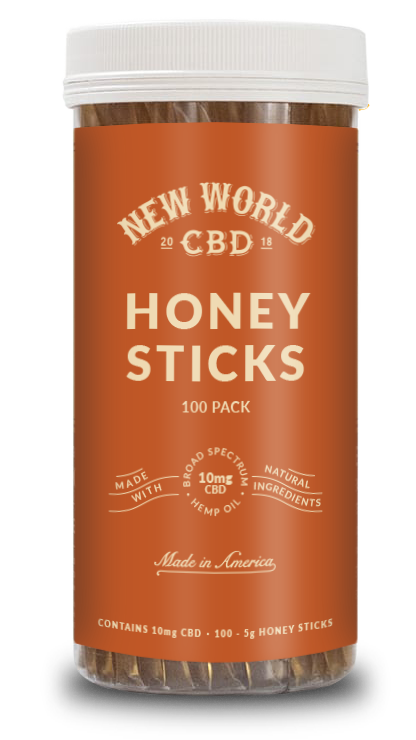 CBD 10mg Honey Sticks - 100 Pack