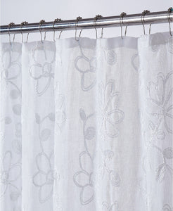 Dainty Home Rita Chenille Embroidered Shower Curtain