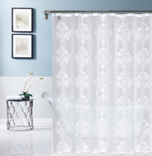 Load image into Gallery viewer, Dainty Home Amelie Embroidered Shower Curtain, White