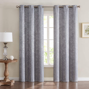 Dainty Home Chic Home Artistic Printed Lurex Foil Weave Blackout Window Panel Pair, 2 Pieces