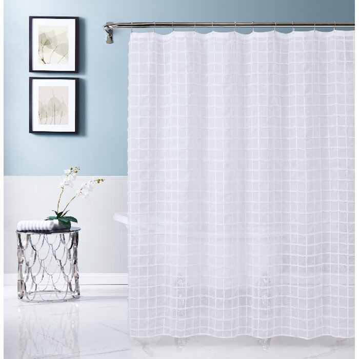 Dainty Home Kelly 70-Inch x 72-Inch Shower Curtain in White