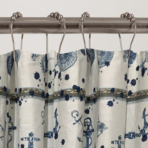 Dainty Home 100% Cotton Marine Fabric Shower Curtain, 70'' W x 72'' L