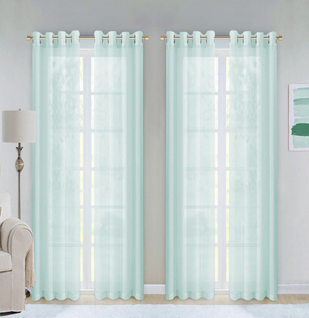 Dainty Home Malibu Textured Semi-Sheer Grommet Top Curtain Panel Pair, 54