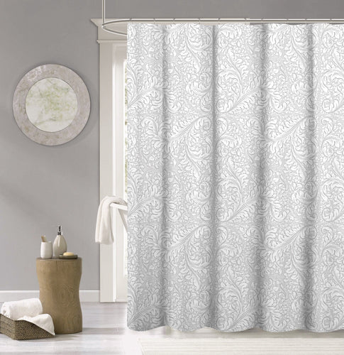 Dainty Home 100% Cotton  Baroque Fabric Shower Curtain, 70''W x 72''L