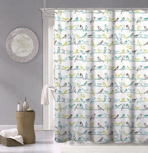 Dainty Home 100% Cotton Birds Fabric Shower Curtain, 70'' W x 72'' L