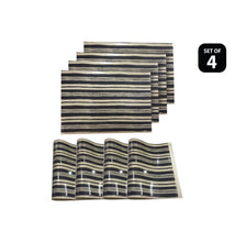 Load image into Gallery viewer, Dainty Home Jagged Black Reversible Metallic Printed Placemats (Set of 4)