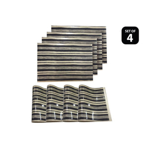 Dainty Home Jagged Black Reversible Metallic Printed Placemats (Set of 4)