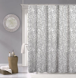 Dainty Home 100% Cotton  Floral 3d Look Fabric Shower Curtain, 70''W x 72''L, White