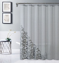 "Load image into Gallery viewer, Dainty Home Natalie 70"" x 72"" Appliqued Shower Curtain"