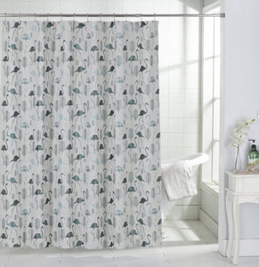 Dainty Home Flamingo Tropical Pattern Fabric Shower Curtain