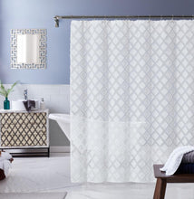 "Load image into Gallery viewer, Dainty Home Katie Diamond Design Shower Curtain, 70"" x 72''"