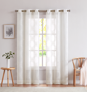 Dainty Home Isabella Handmade Embroidered Window Curtain