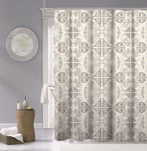 Dainty Home 100% Cotton Mosiac Fabric Shower Curtain, 70'' W x 72'' L