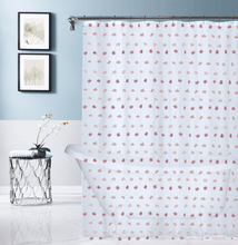 Load image into Gallery viewer, Dainty Home Oliana Modern Flower 3D Linen-Look Fabric Shower Curtain, 70 inch x 72 inch