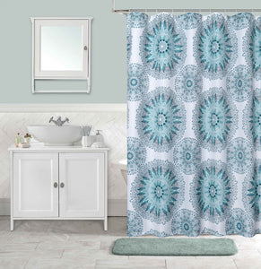 Dainty Home Kaleidoscope Waffle Weave Fabric  Shower Curtain, 70''W x 72''L