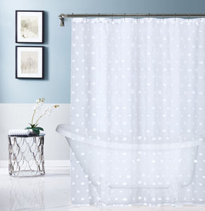 Dainty Home Oliana Modern Flower 3D Linen-Look Fabric Shower Curtain, 70 inch x 72 inch