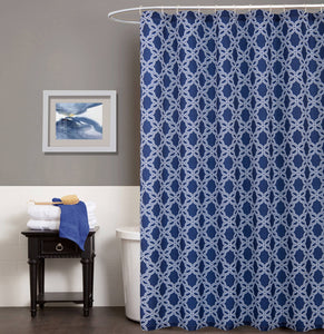 Dainty Home Trellis Waffle Weave Fabric  Shower Curtain, 70''W x 72''L, Navy Blue