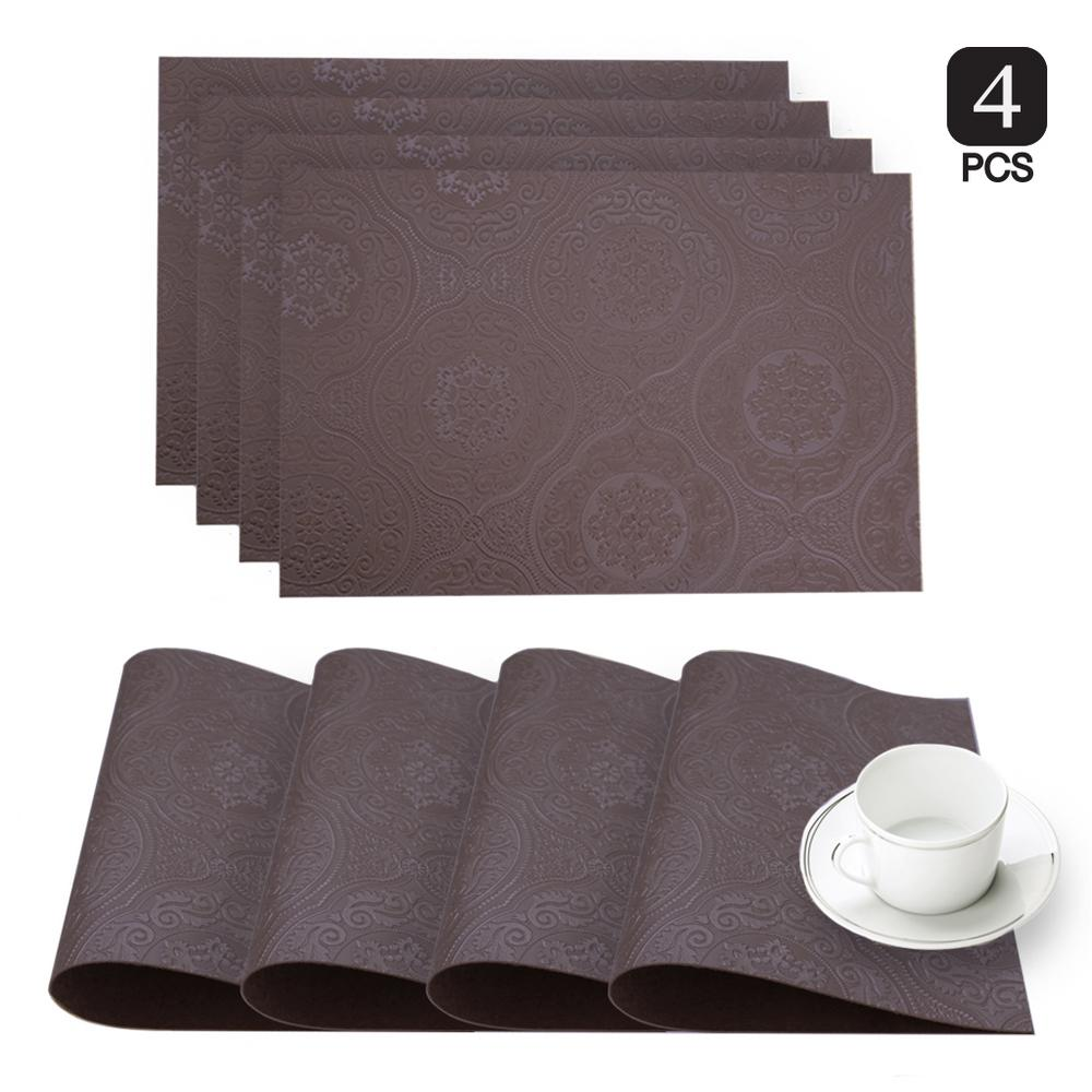 Dainty Home Hyde Park Burgundy Faux Leather Placemat (Set of 4)