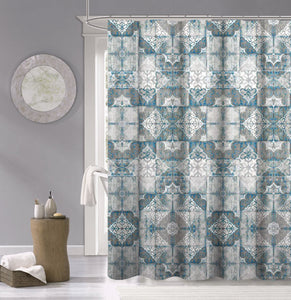 Dainty Home 100% Cotton Tiles Fabric Shower Curtain, 70'' W x 72'' L
