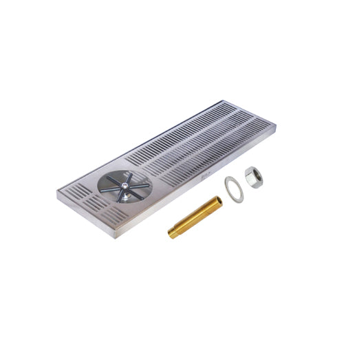 "Side Spray Glass Rinser Drip Tray – Brushed Stainless – With Drain, 24"" x 7"""
