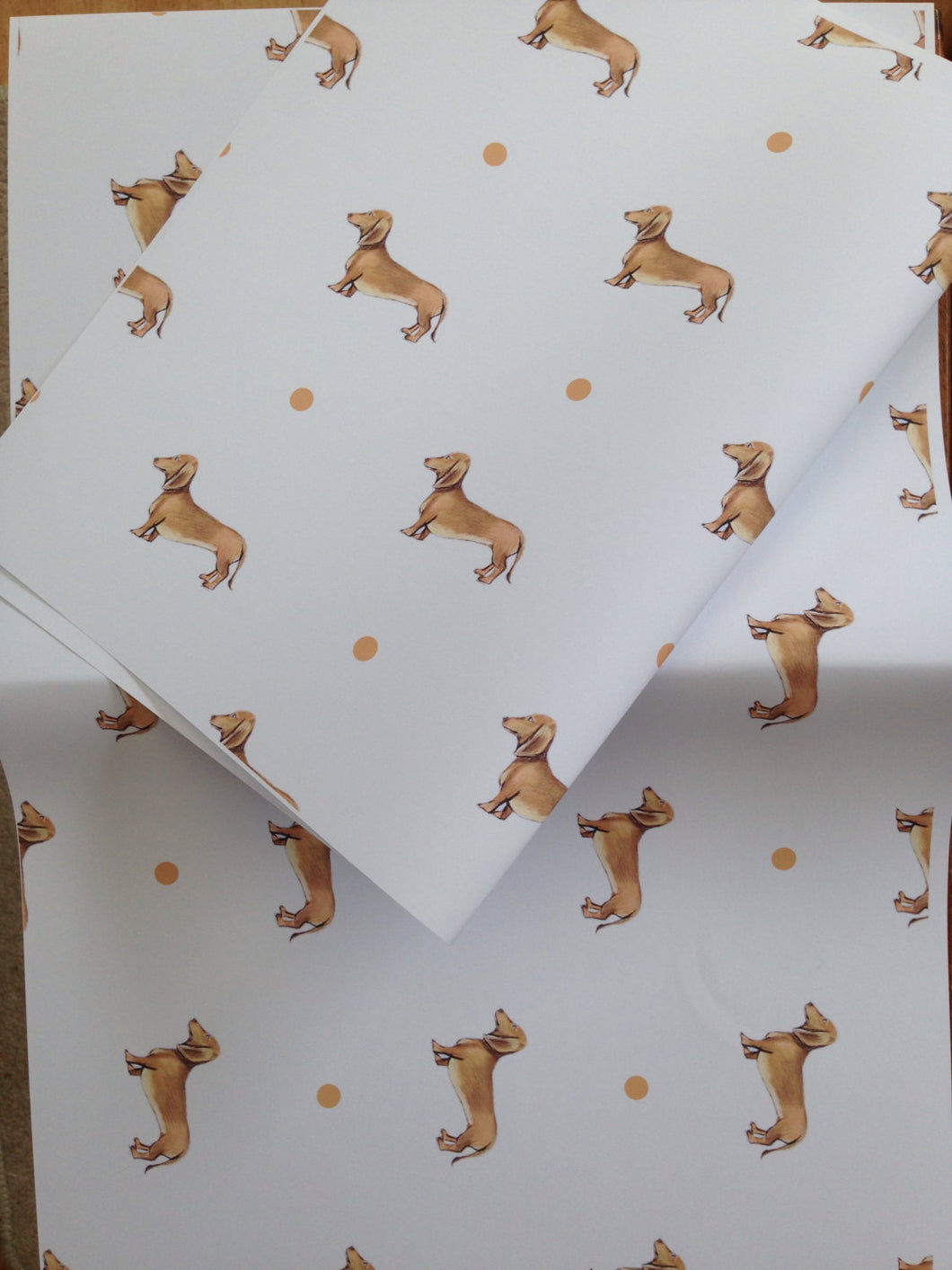 Sausage dog,daschund ,wrapping paper gift wrap, FOR SMALLER GIFTS