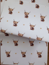 Load image into Gallery viewer, Highland cow wrapping paper, gift wrap, FOR SMALLER GIFTS read description