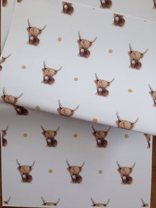 Highland cow wrapping paper, gift wrap, FOR SMALLER GIFTS read description