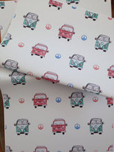 Load image into Gallery viewer, Campervan ,wrapping paper, gift wrap,for campervan lovers,for campervan owners, campervans, for Father's Day, read description