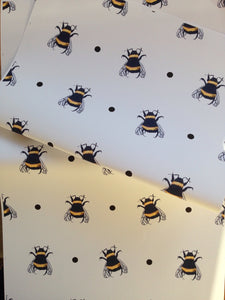 Bumble bee,bee wrapping paper ,gift wrap for bee lovers, for bee keepers, read description FOR SMALLER GIFTS