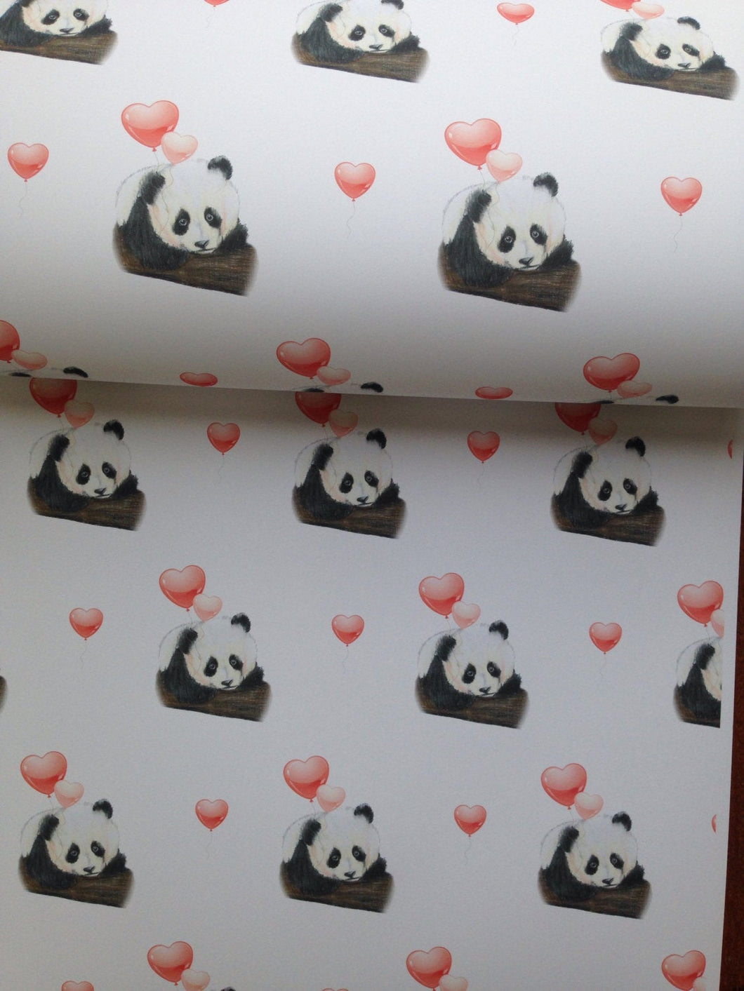 Panda, wrapping paper, gift wrapping , valentines gift wrap, for panda lovers, read description FOR SMALLER GIFTS