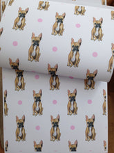 Load image into Gallery viewer, French bulldog wrapping paper, gift wrap , FOR SMALLER GIFTS