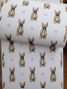 French bulldog wrapping paper, gift wrap , FOR SMALLER GIFTS