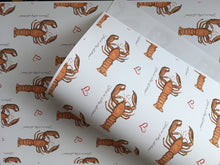 Load image into Gallery viewer, You're my lobster , wrapping paper , gift wrap, for Valentine's wrapping paper, FOR SMALLER GIFTS