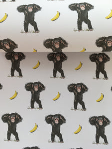 Monkey ,chimpanzee, wrapping paper, gift wrap,  FOR SMALLER GIFTS