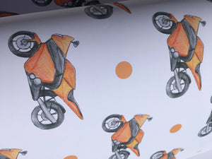 Motorbike, wrapping paper, gift wrap, for motorbike lovers, for motorbike riders, for Father's Day, read description