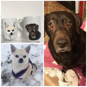 Pet portrait,mug, hand painted, cats,dogs, animals, for animal lovers, for pet owners