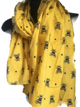Load image into Gallery viewer, Bee, bumble bee, scarf, cotton scarf, yellow scarf, for bee lovers, for bee keepers, bee gift