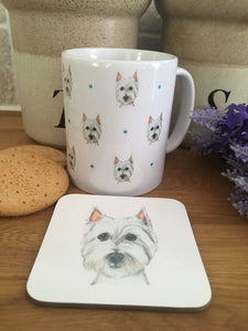Westie mug, west highland terrier, for westie lovers, westie gift , mug and coaster set, westie gift idea