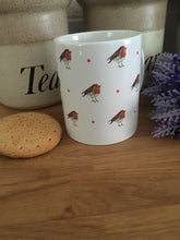 Load image into Gallery viewer, Robin, robins, mug, tea mug, coffee mug, for robin lovers, for tea drinkers, robin gift, robin mug, mug and coaster set