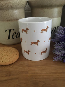 Sausage dog, daschund , mug,mug and coaster set