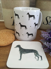 Load image into Gallery viewer, Greyhound mug, mug and coaster set, for greyhound lovers, for dog lovers, greyhound gift
