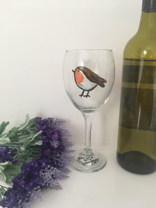 Robin, wine glass, gin glass,robins, for robin lovers, for bird lovers, for wine drinkers